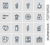 vector illustration of 16 drink ... | Shutterstock .eps vector #713710522