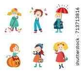 kids  children enjoy fall ... | Shutterstock .eps vector #713713816