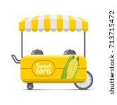 sweet corn street food cart.... | Shutterstock .eps vector #713715472