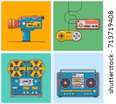 retro gadgets from 90s in line...   Shutterstock .eps vector #713719408
