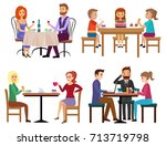 eating people set. couple...   Shutterstock .eps vector #713719798