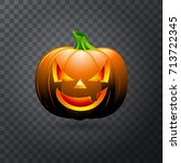 vector halloween pumpkin with... | Shutterstock .eps vector #713722345