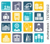 cargo and industry icon set... | Shutterstock .eps vector #713730112