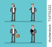 set of businessman character... | Shutterstock .eps vector #713731222