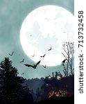 halloween vertical background... | Shutterstock .eps vector #713732458
