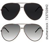 realistic sunglasses set.... | Shutterstock .eps vector #713732842