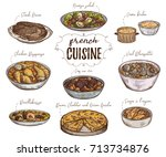 french cuisine. collection of... | Shutterstock .eps vector #713734876