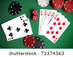 playing cards and chips on a... | Shutterstock . vector #71374363