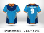 blue layout football sport t... | Shutterstock .eps vector #713745148