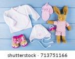 newborn accessories for a baby... | Shutterstock . vector #713751166