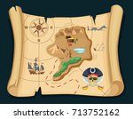 old treasure map for pirate... | Shutterstock .eps vector #713752162