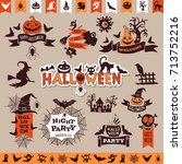 halloween monochrome emblems... | Shutterstock .eps vector #713752216