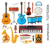 bongo  drums  guitar and other... | Shutterstock .eps vector #713752306