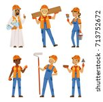 male and female workers in... | Shutterstock .eps vector #713752672