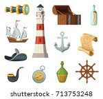 marine vector objects. chest ... | Shutterstock .eps vector #713753248