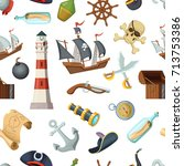 marine seamless pattern with... | Shutterstock .eps vector #713753386