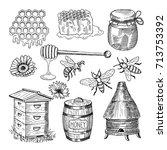 honey  bee  honeycomb and other ... | Shutterstock .eps vector #713753392