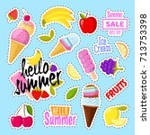 set of cute ice cream and... | Shutterstock .eps vector #713753398