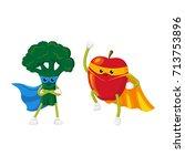 vector flat cartoon fruit ... | Shutterstock .eps vector #713753896