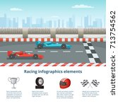 sport infographic with race... | Shutterstock .eps vector #713754562