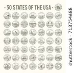 50 states of the usa. big... | Shutterstock .eps vector #713754688