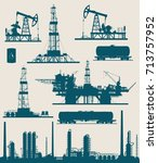 set of oil and gas industry... | Shutterstock .eps vector #713757952