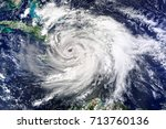 satellite view. hurricane... | Shutterstock . vector #713760136