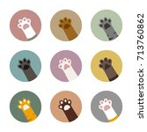 colorful cat paws in circles... | Shutterstock .eps vector #713760862