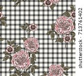 floral seamless pattern with... | Shutterstock .eps vector #713761402