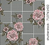 floral seamless pattern with... | Shutterstock .eps vector #713761432
