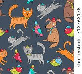 seamless pattern with cats ... | Shutterstock .eps vector #713763178