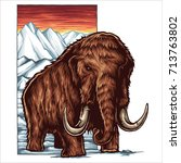 vector illustration of mammoth... | Shutterstock .eps vector #713763802