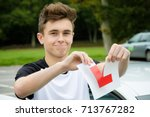 learner driver passed his... | Shutterstock . vector #713767282