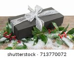 black luxury gift box with... | Shutterstock . vector #713770072