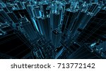 abstract 3d city rendering with ... | Shutterstock . vector #713772142