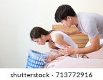 young asian pregnant woman feel ... | Shutterstock . vector #713772916