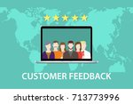 customer feedback concept with... | Shutterstock .eps vector #713773996