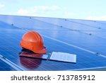 construction helmet and report...   Shutterstock . vector #713785912