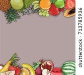 vector hand drawn fruit frame... | Shutterstock .eps vector #713785936