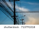 power cord on the fire pole | Shutterstock . vector #713791018