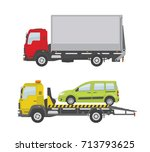 truck and tow truck isolated... | Shutterstock .eps vector #713793625