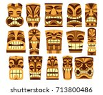 vector set of different tiki... | Shutterstock .eps vector #713800486