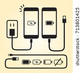 smart phone   iphone charger... | Shutterstock .eps vector #713801425