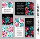 embroidery style flyer set with ... | Shutterstock .eps vector #713806822
