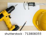 top view of power drill  pencil ... | Shutterstock . vector #713808355
