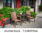 patio area with brown furniture ... | Shutterstock . vector #713809366