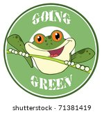 happy red eyed blue tree frog... | Shutterstock .eps vector #71381419