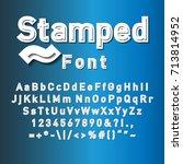 stamped alphabet   font. | Shutterstock .eps vector #713814952