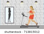 fat girl on a treadmill and... | Shutterstock .eps vector #713815012
