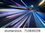 moving forward motion blur... | Shutterstock . vector #713830258